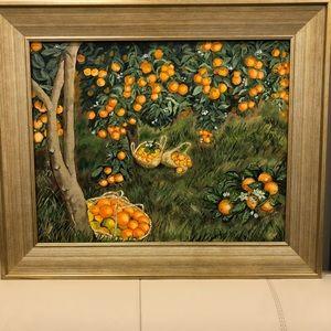 Art. Acrilic on Canvas. New!!! Oranges Garden.